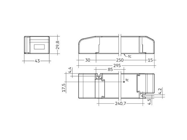 3_LED Driver Tridonic Essence LC 100W 24V SC SNC dimensions strain-relief_Empreo-lab