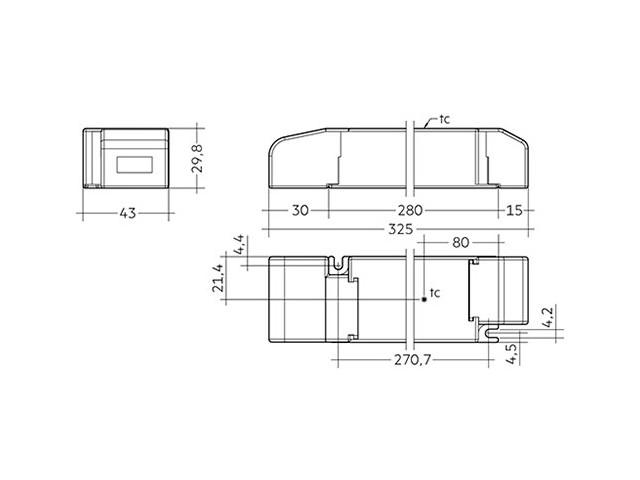 3_LED Driver Tridonic Essence LC 200W 24V SC SNC dimensions strain-relief_Empreo-lab