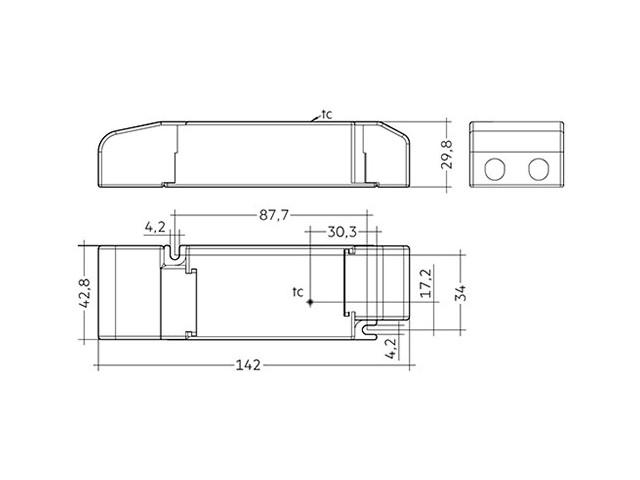 3_LED Driver Tridonic Essence LC 35W 24V SC SNC dimensions strain-relief_Empreo-lab