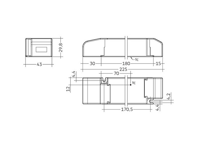 3_LED Driver Tridonic Essence LC 60W 24V SC SNC dimensions strain-relief_Empreo-lab