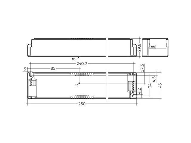4_LED Driver Tridonic Essence LC 100W 24V SC SNC dimensions no strain-relief_Empreo-lab