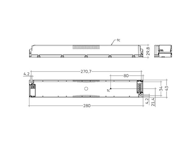 4_LED Driver Tridonic Essence LC 200W 24V SC SNC dimensions no strain-relief_Empreo-lab