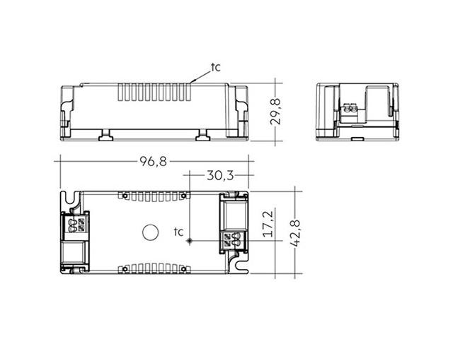 4_LED Driver Tridonic Essence LC 35W 24V SC SNC dimensions no strain-relief_Empreo-lab