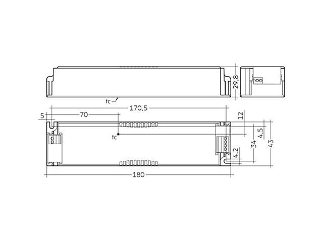 4_LED Driver Tridonic Essence LC 60W 24V SC SNC dimensions no strain-relief_Empreo-lab